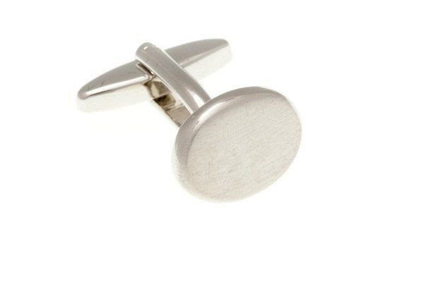 Stříbrné manžetové knoflíčky s efektem jemného broušení na oválu - 2