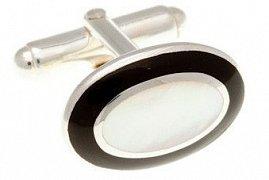Stříbrné manžetové knoflíčky s přírodní bílou perletí a černým onyxem