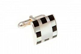 Stříbrné manžetové knoflíčky s šachovnicí z polodrahokamu onyxu a perleti