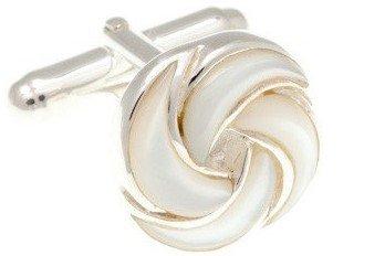 stříbrné manžetové knoflíčky ve tvaru květu s bílou perletí SS-CL5310 - 1