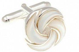 stříbrné manžetové knoflíčky ve tvaru květu s bílou perletí SS-CL5310