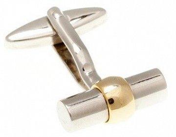 Stříbrné manžetové knoflíčky ve tvaru tubusu se zlatým prstýnkem - 1