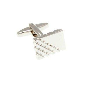 Stříbrné obdélníkové manžetové knoflíčky s mřížkou ve vysokém lesku - 1