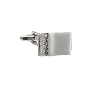 Stříbrné prohnuté manžetové knoflíčky skládané ze dvou desénů  - 1