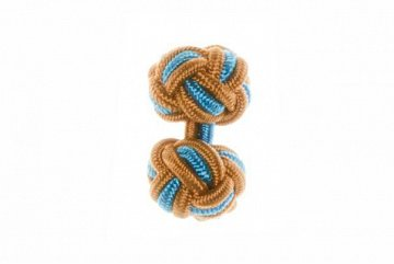Tan, Camel and Blue Silk Cuffknots - 1