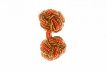 Tan, Camel and Tango Orange Silk Cuffknots - 1