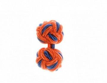 Tango Orange and Royal Blue Silk Cuffknots - 1