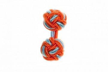 Tango Orange & Light Blue Cuffknots Silk Knot Cufflinks - 1
