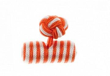 Tango Orange & White Barrel Silk Cuffknots - 1
