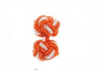 Tango Orange & White Silk Cuffknots - 1