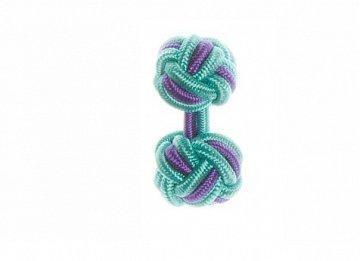 Turquoise Blue & Purple Cuffknots Silk Knot Cufflinks - 1