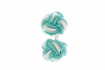 Turquoise & White Silk Cuffknots - 1