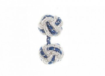 White and Royal Blue Sparkle Silk Cuffknots - 1