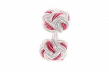 White & Pink Cuffknots Silk Knot Cufflinks - 1