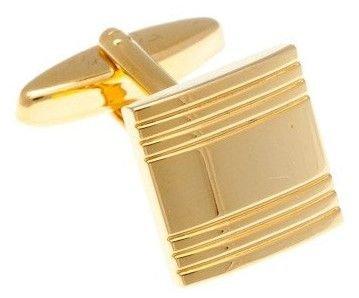 Zlaté kovové manžetové knoflíčky s proužky - 1