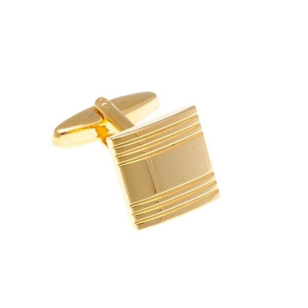 Zlaté kovové manžetové knoflíčky s proužky - 2